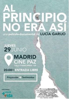 """Fundación +Vida organiza la proyección de la película – documental """"Al principio no era así"""" de Lucía Garijo"""